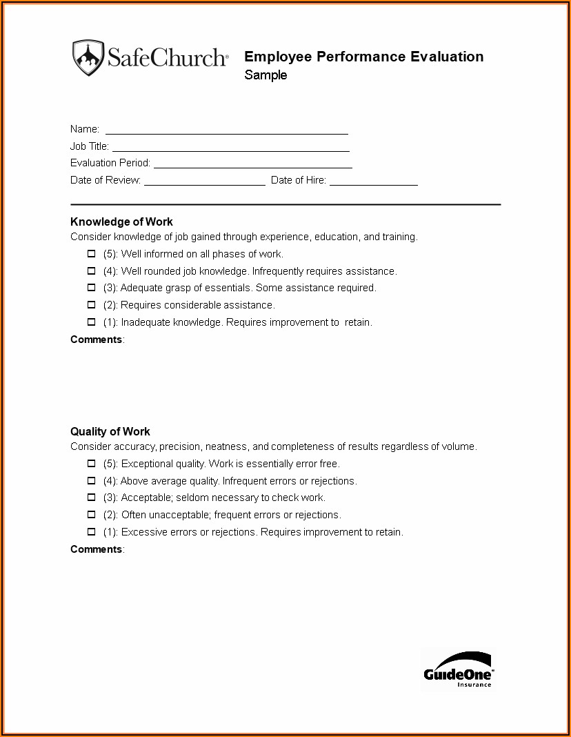 Employee Evaluation Templates
