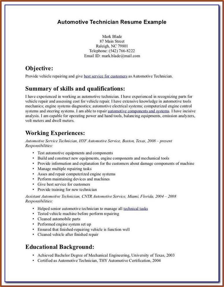 Entry Level Automotive Technician Resume Template