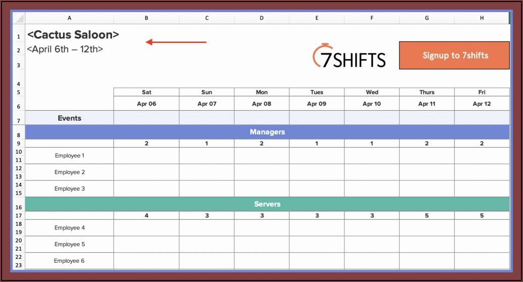 Excel Work Schedule Calendar Template