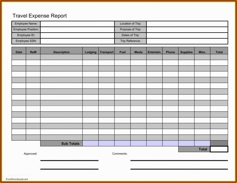 Expense Report Template Word Free Download