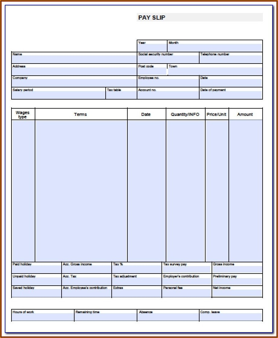 Fake Pay Stub Template Excel