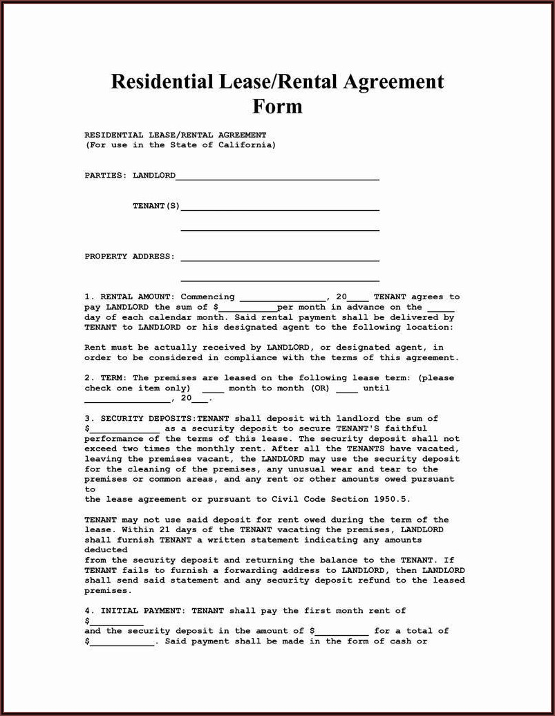 Florida Rental Lease Agreement Word Document