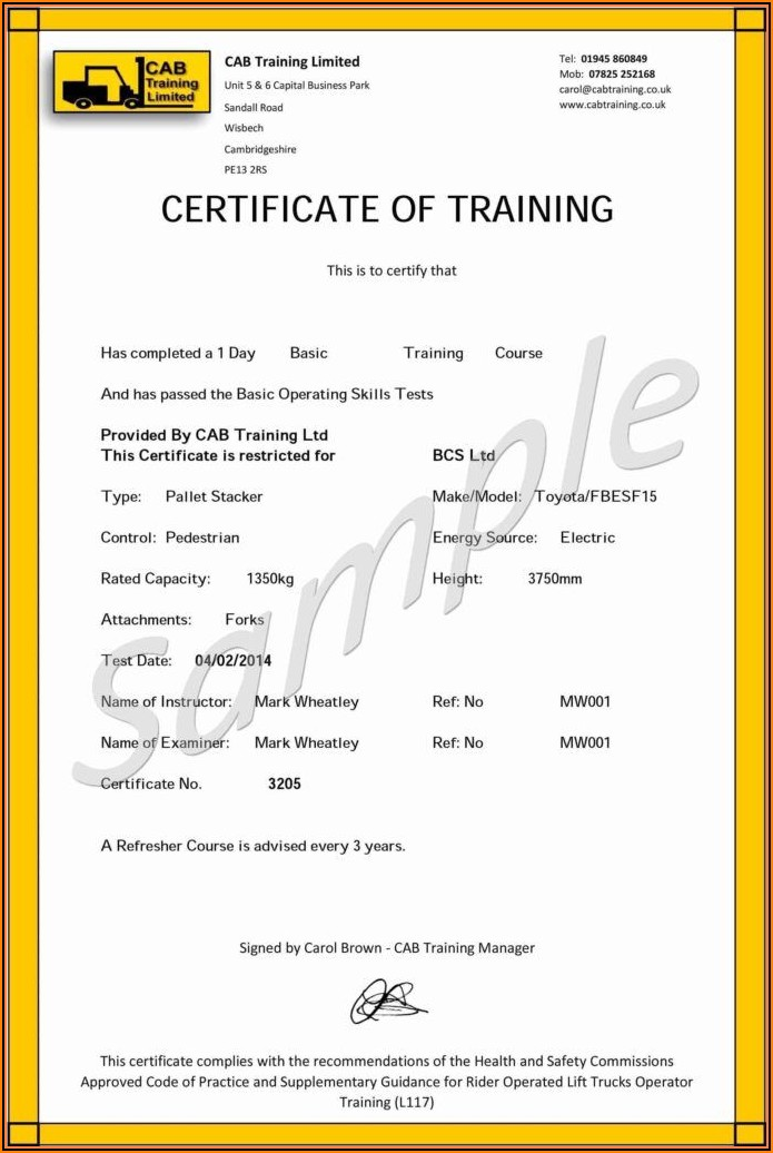 Forklift Certification Template Card