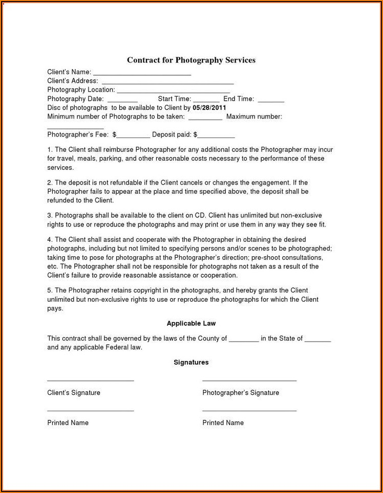 Free Birth Photography Contract Template