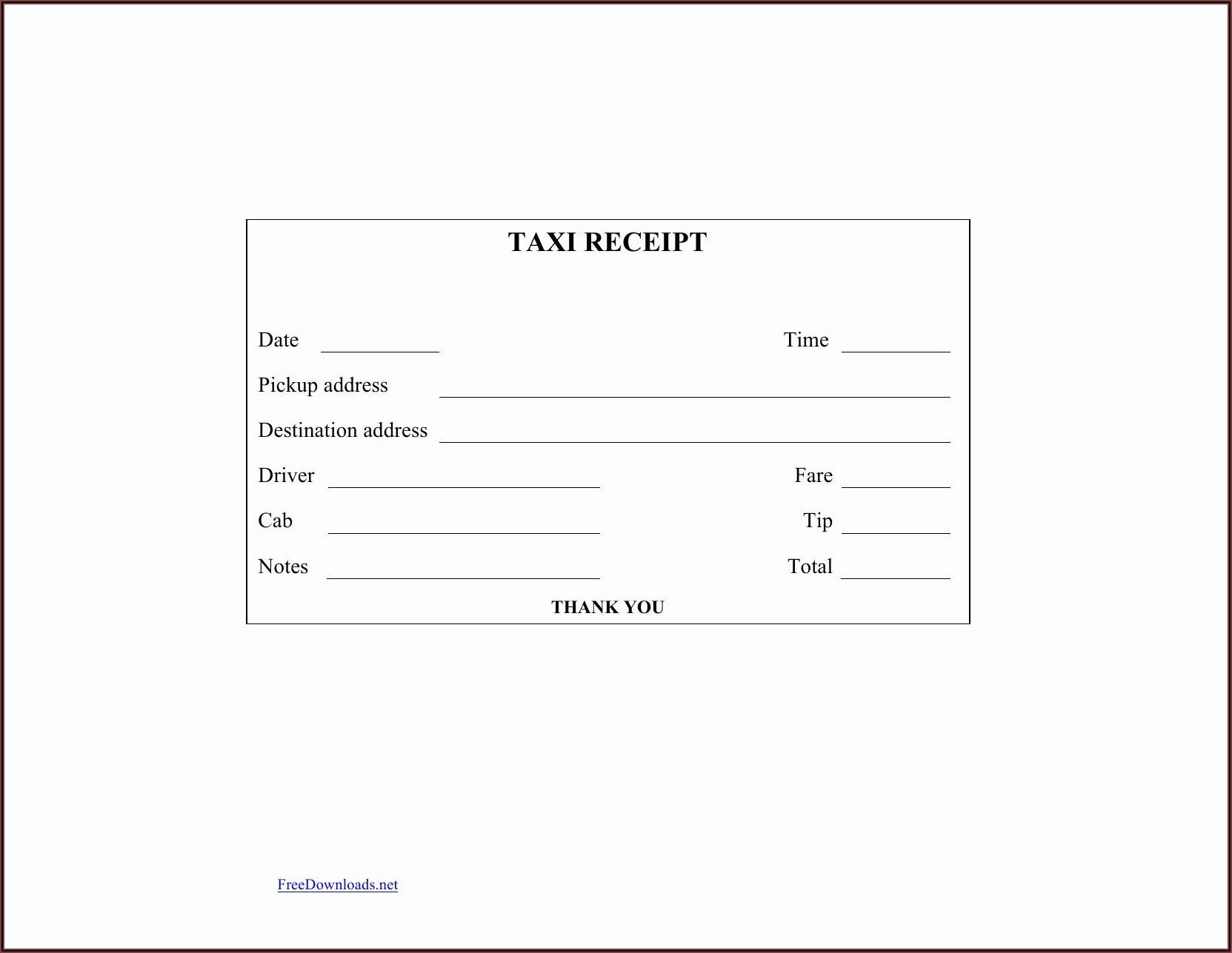 Free Blank Printable Receipt