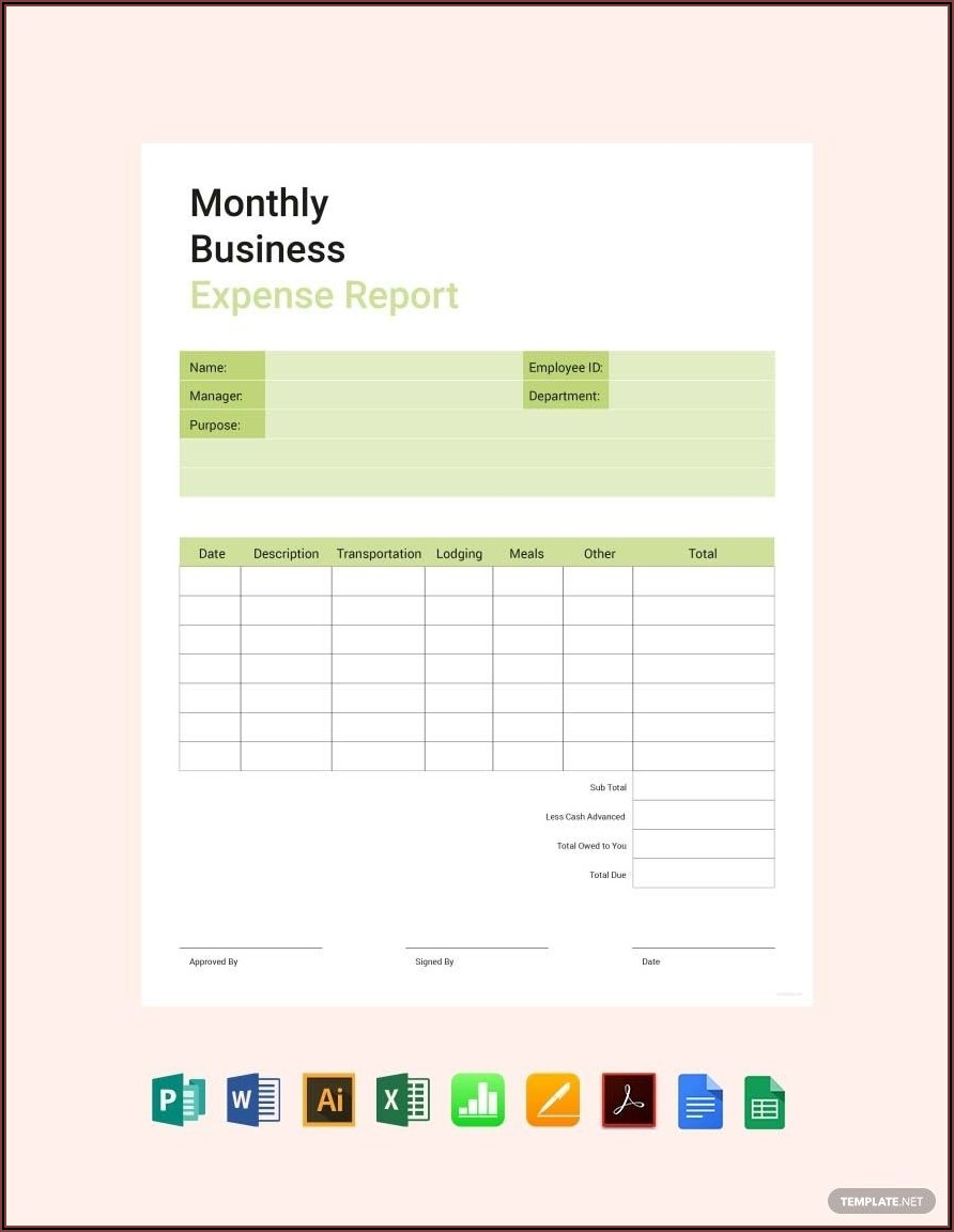 Free Business Expense Report Template