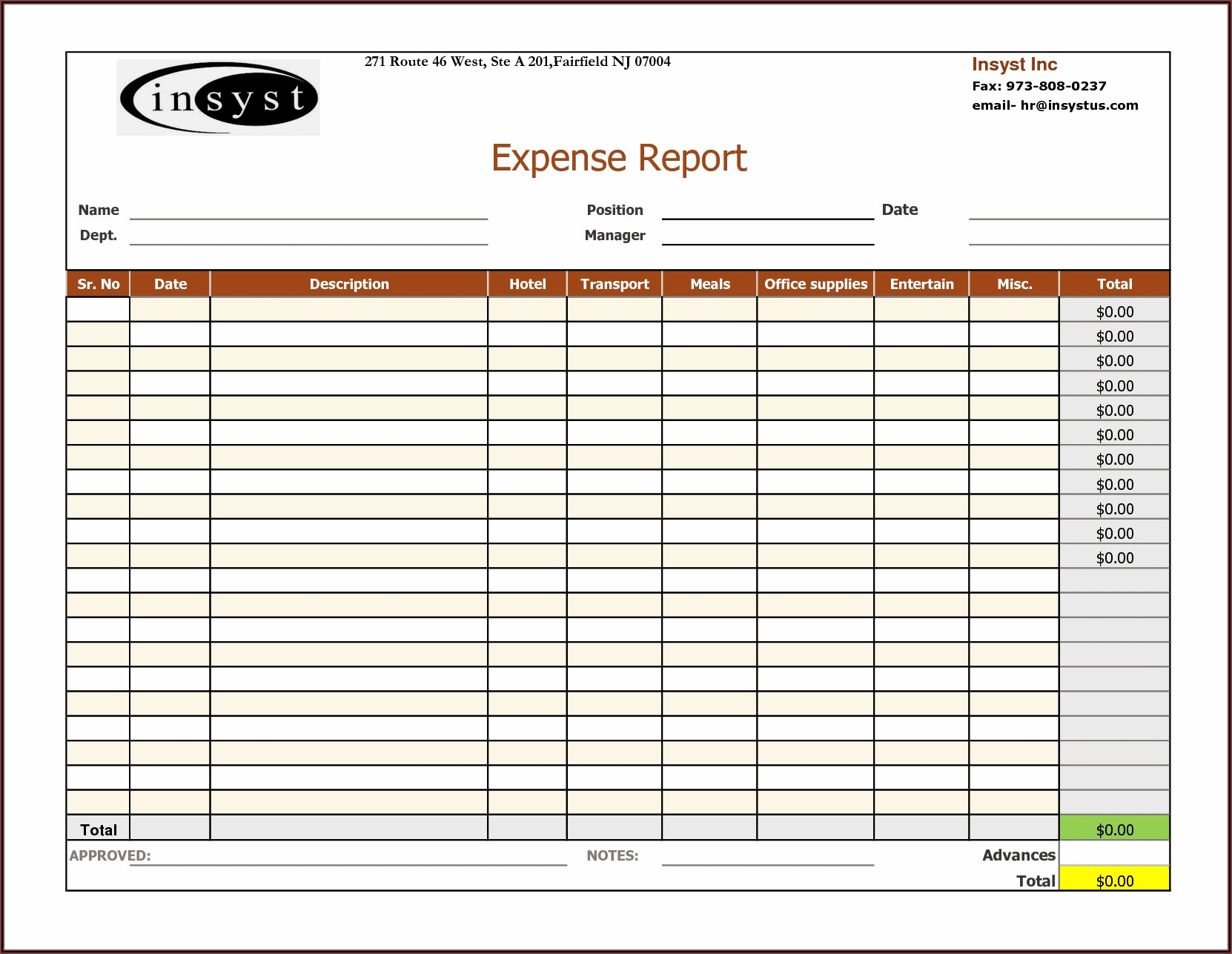 Free Business Expense Template
