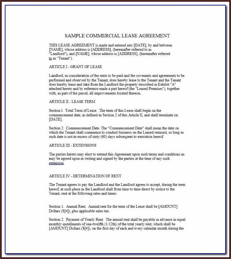 Free Business Lease Agreement Template