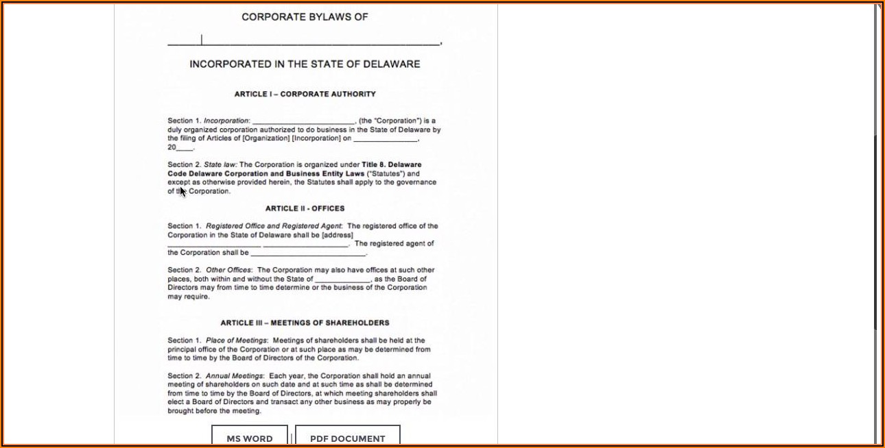 Free Bylaws Template For Corporation