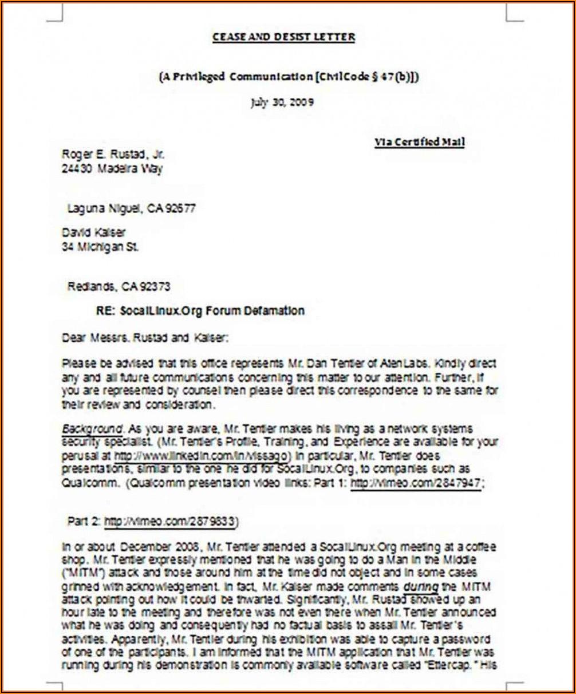 Free Cease And Desist Letter Template For Slander
