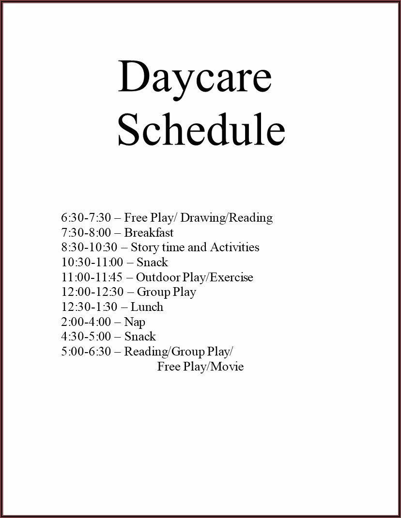 Free Daycare Daily Schedule Template