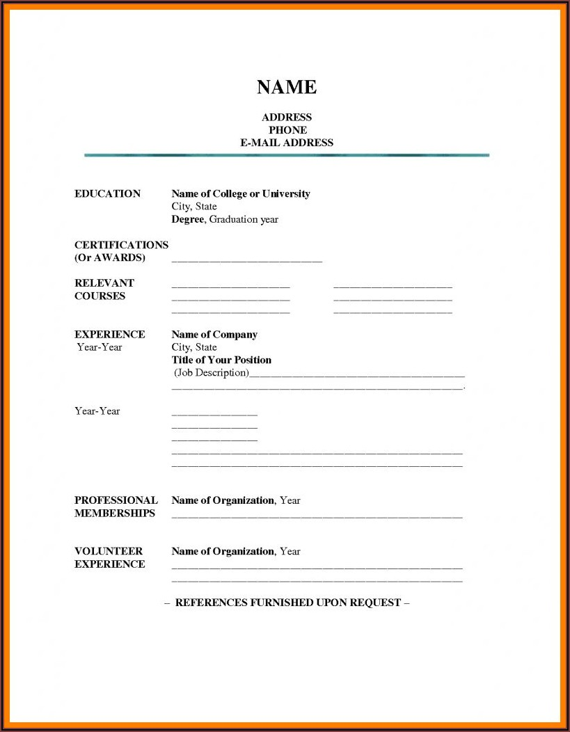Free Fill In Resume Templates