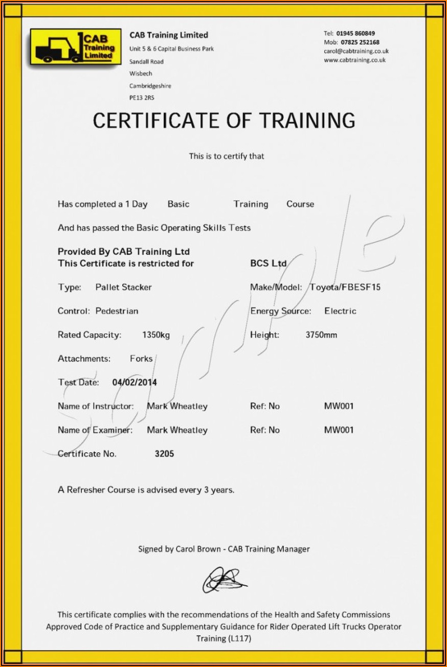 Free Forklift Certificate Template Pdf
