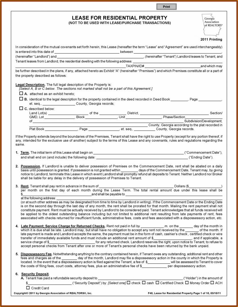 Free Lease Agreement Template Download