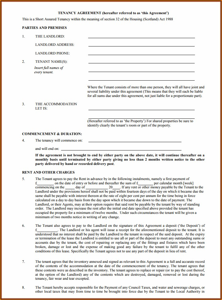 Free Lease Agreement Template Uk