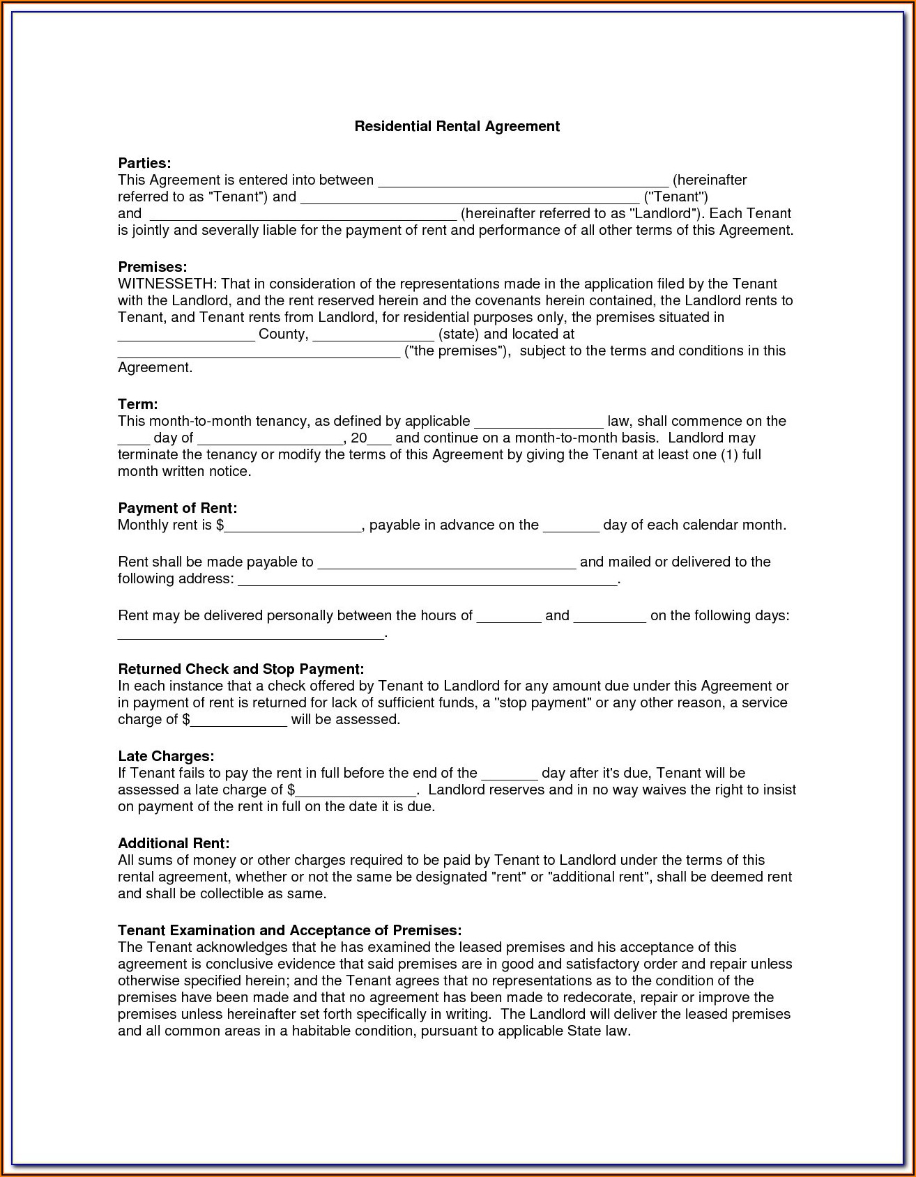 Free Lease Agreement Template Word South Africa