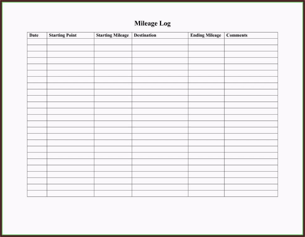 Free Mileage Log Template For Word