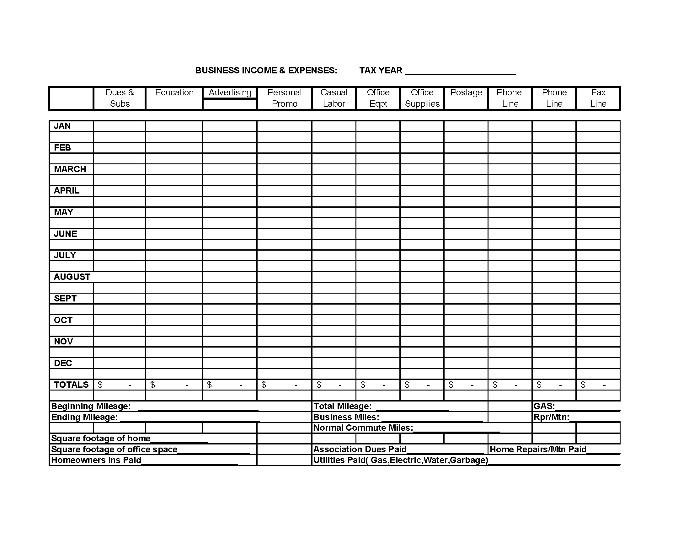 Free Monthly Business Expense Spreadsheet Template