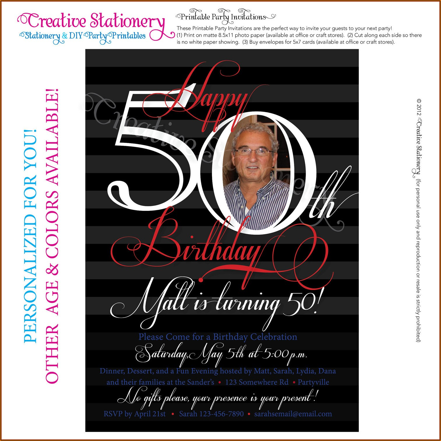 Free Online 50th Birthday Invitation Templates