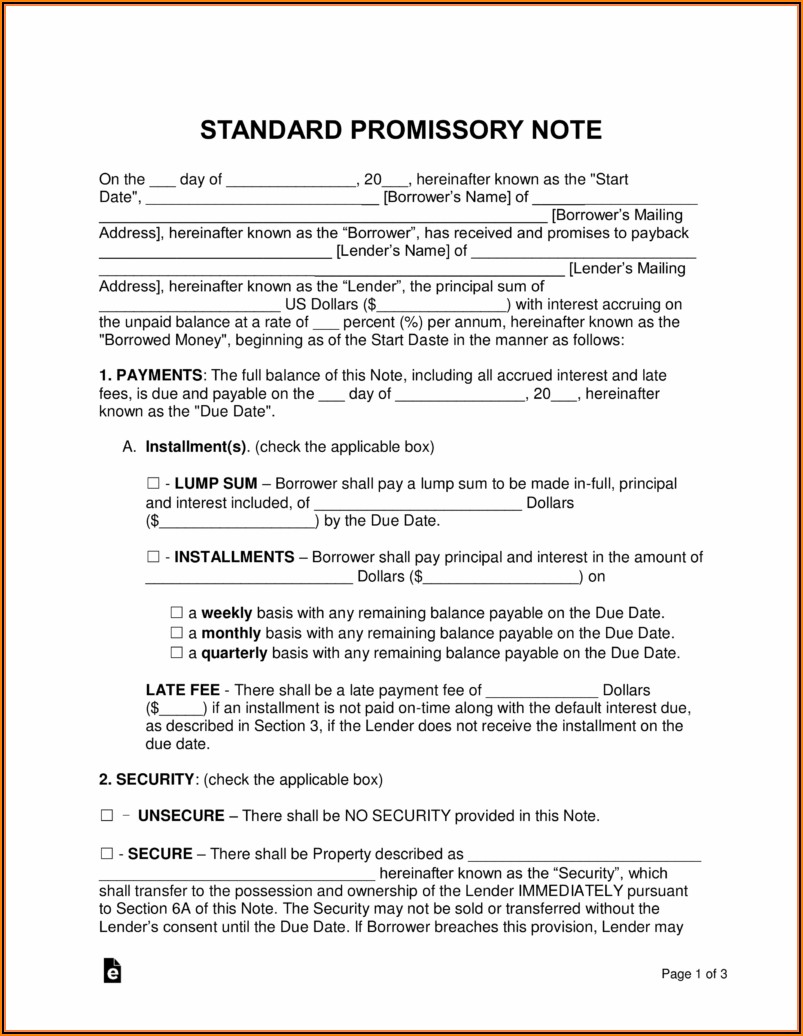 Free Promissory Note Template For Car Loan