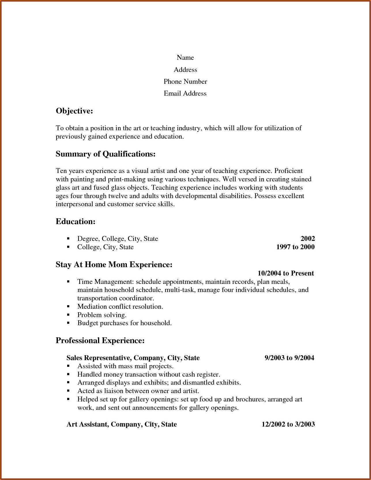 Free Resume Samples For Stay At Home Mom