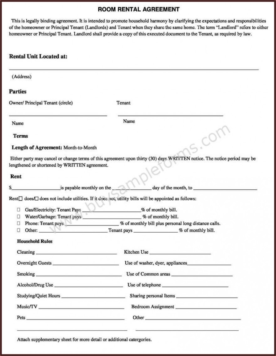 Free Room Rental Agreement Template Word Uk