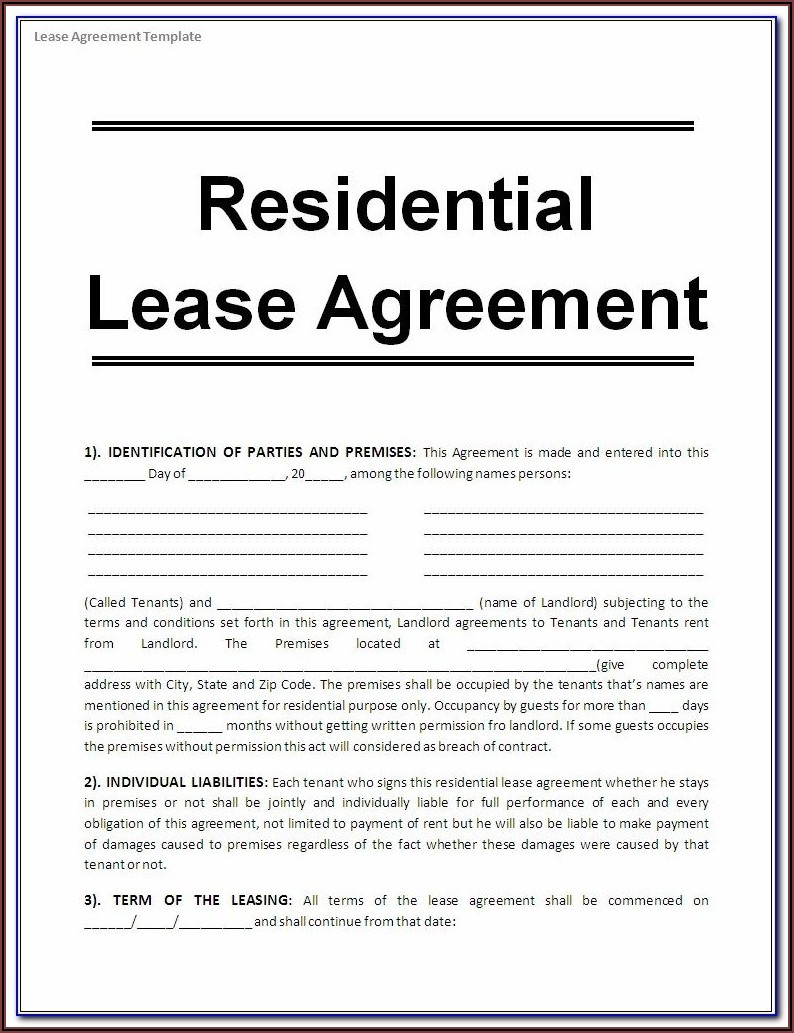 Free Sample Rental Agreement Template Word