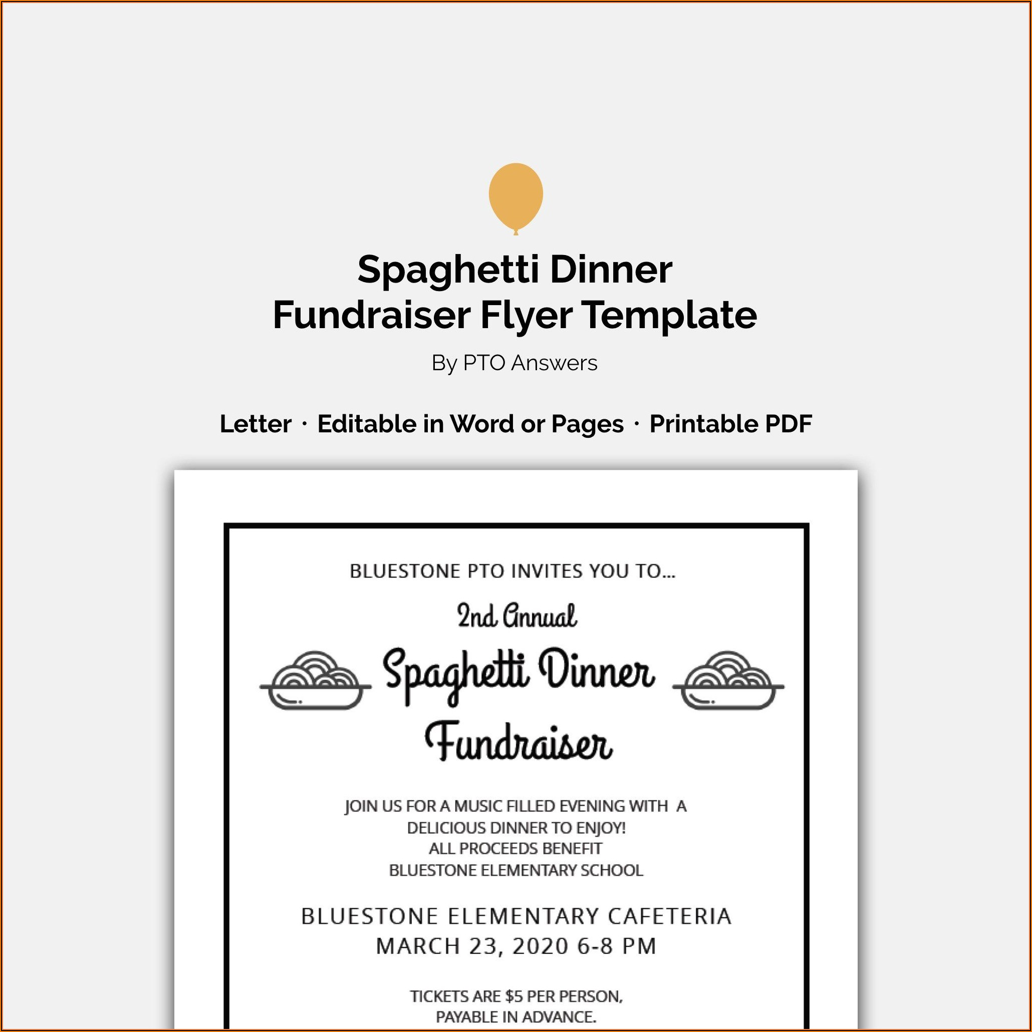 Free Spaghetti Dinner Ticket Template