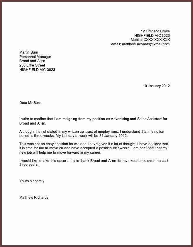 Free Word Template For Resignation Letter