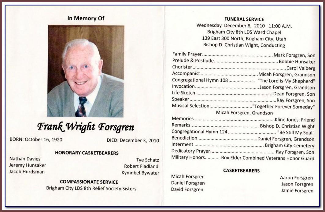 Funeral Program Obituary Samples