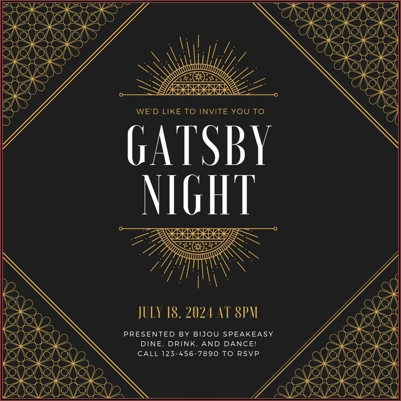 Gatsby Invitations Templates