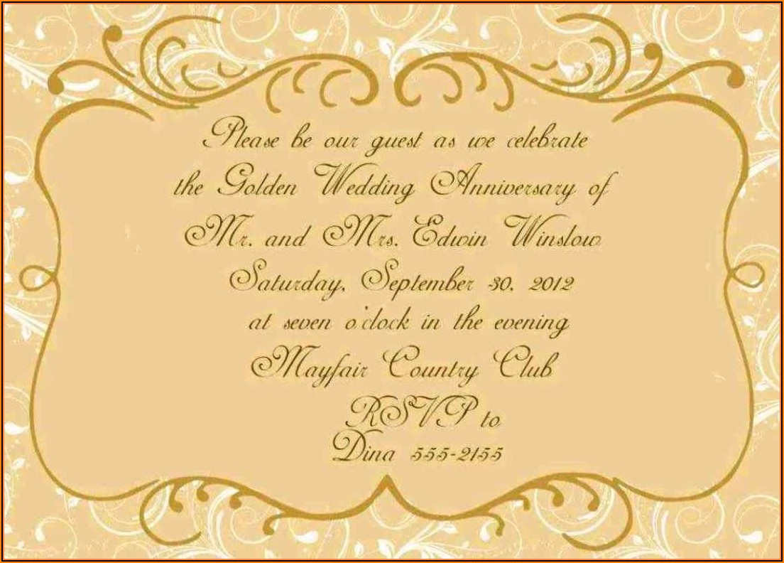 Golden Wedding Anniversary Certificate Template