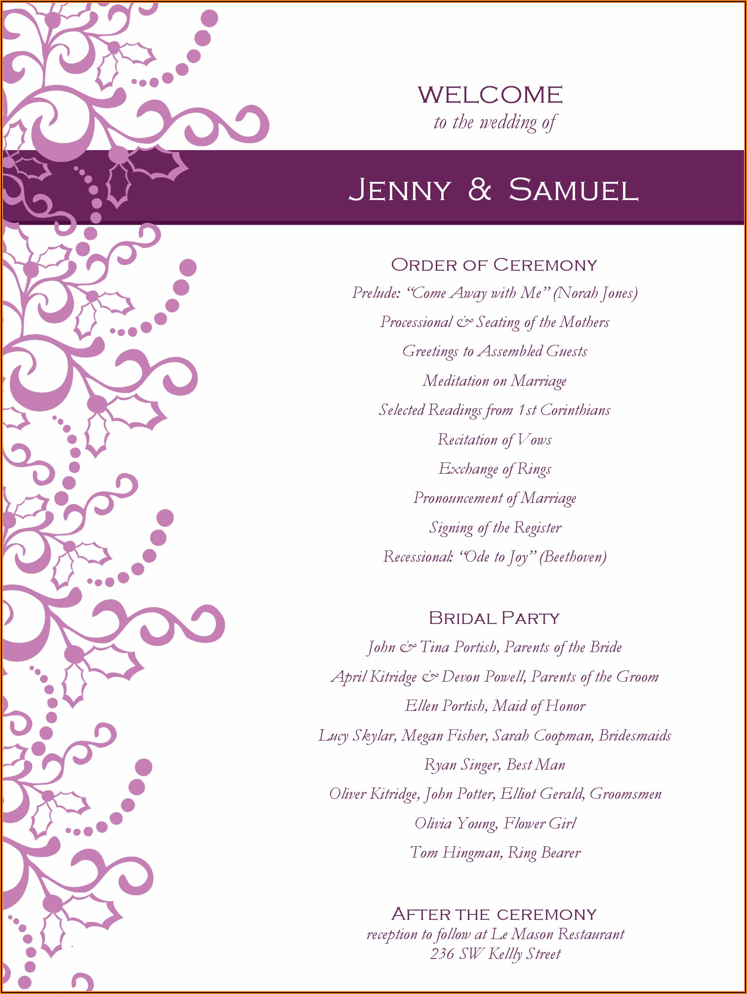 Graduation Party Program Layout