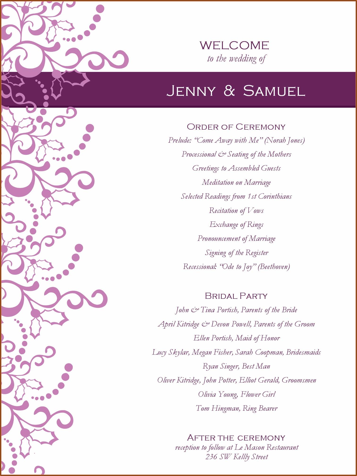 Graduation Party Program Layout