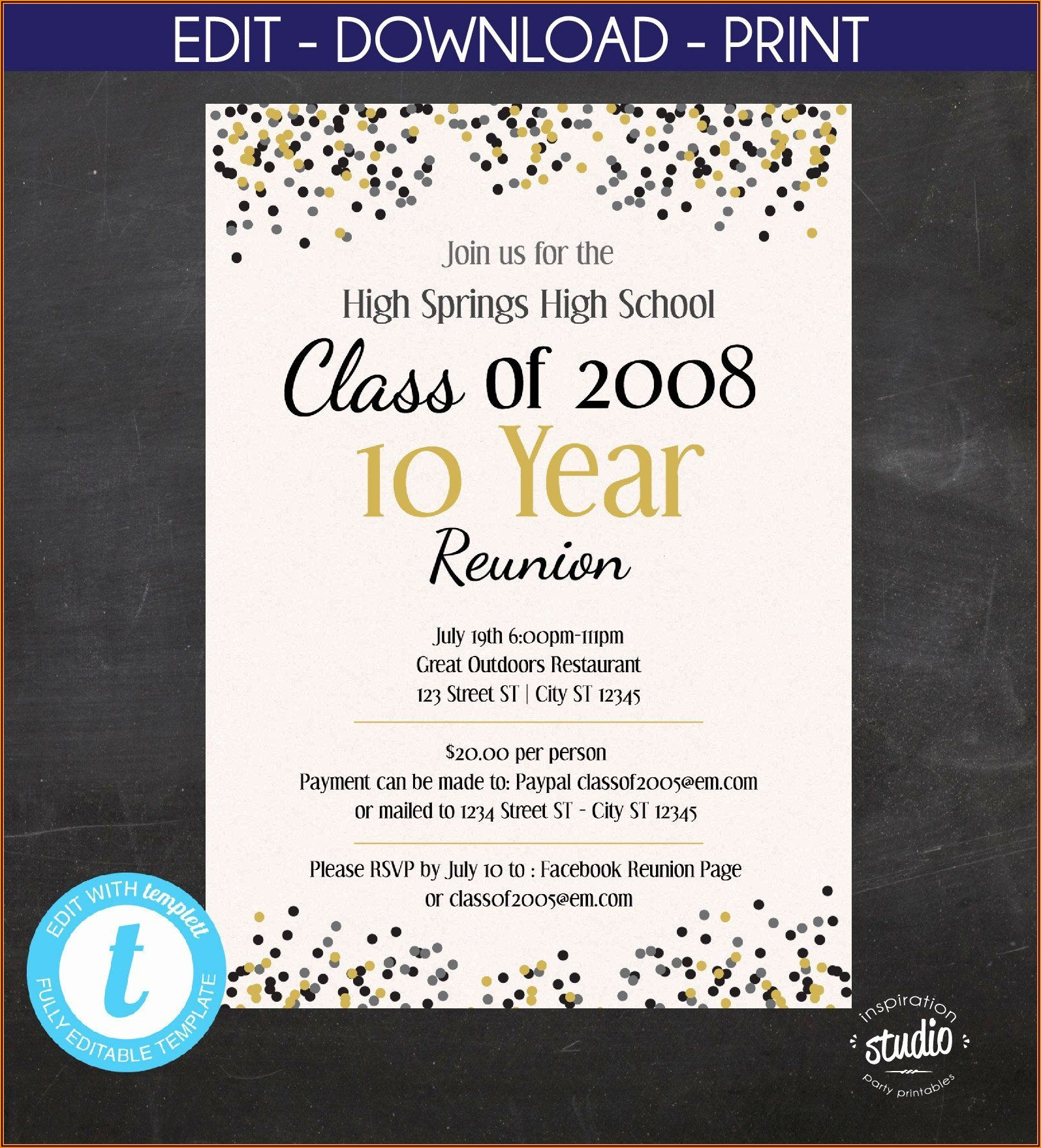 High School Reunion Invitation Templates Free