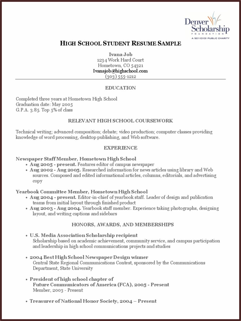 High School Student Resume Template Word Free