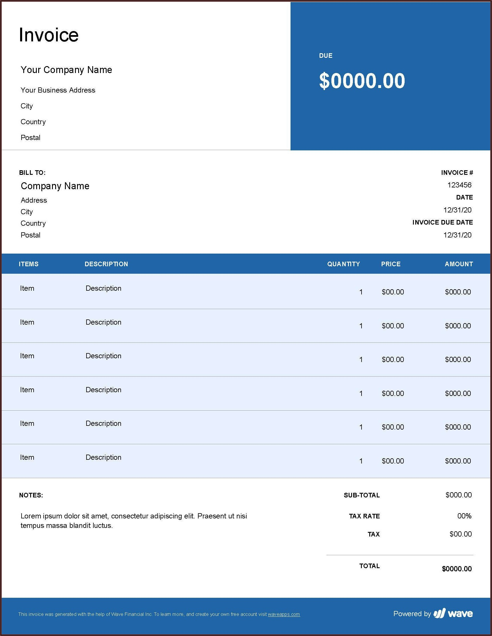 Invoice Template For Quickbooks