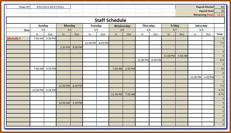 Labor Scheduling Template