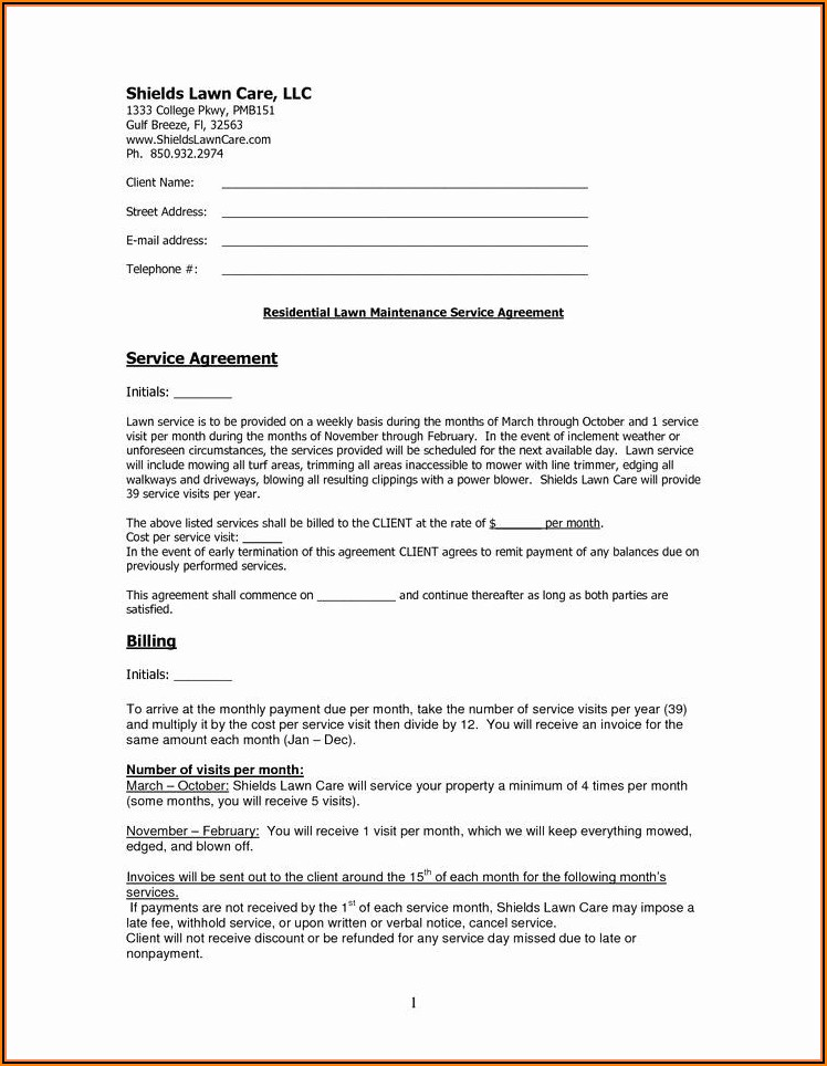 Landscape Maintenance Contract Template