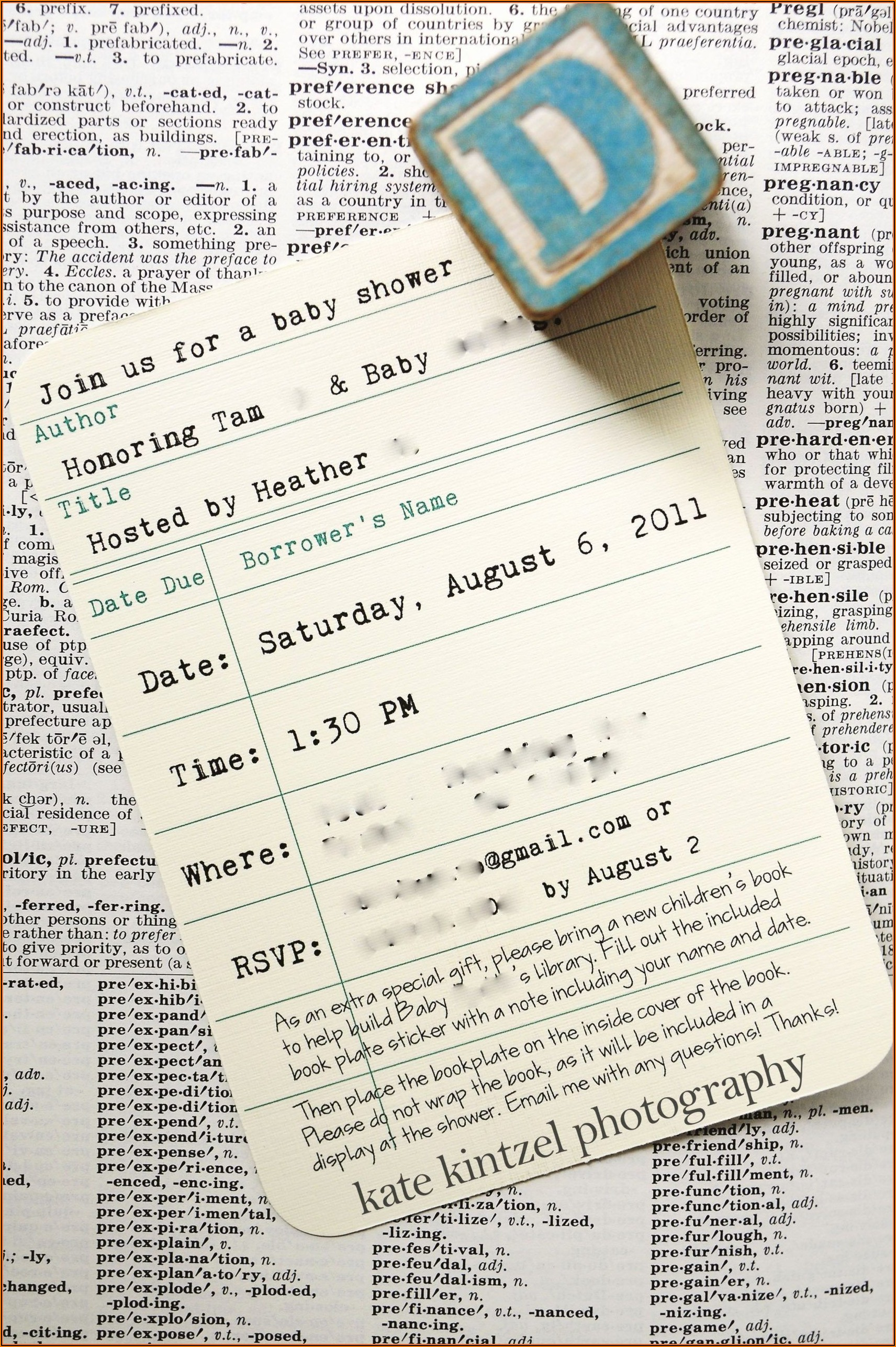 Library Card Baby Shower Invitation Template