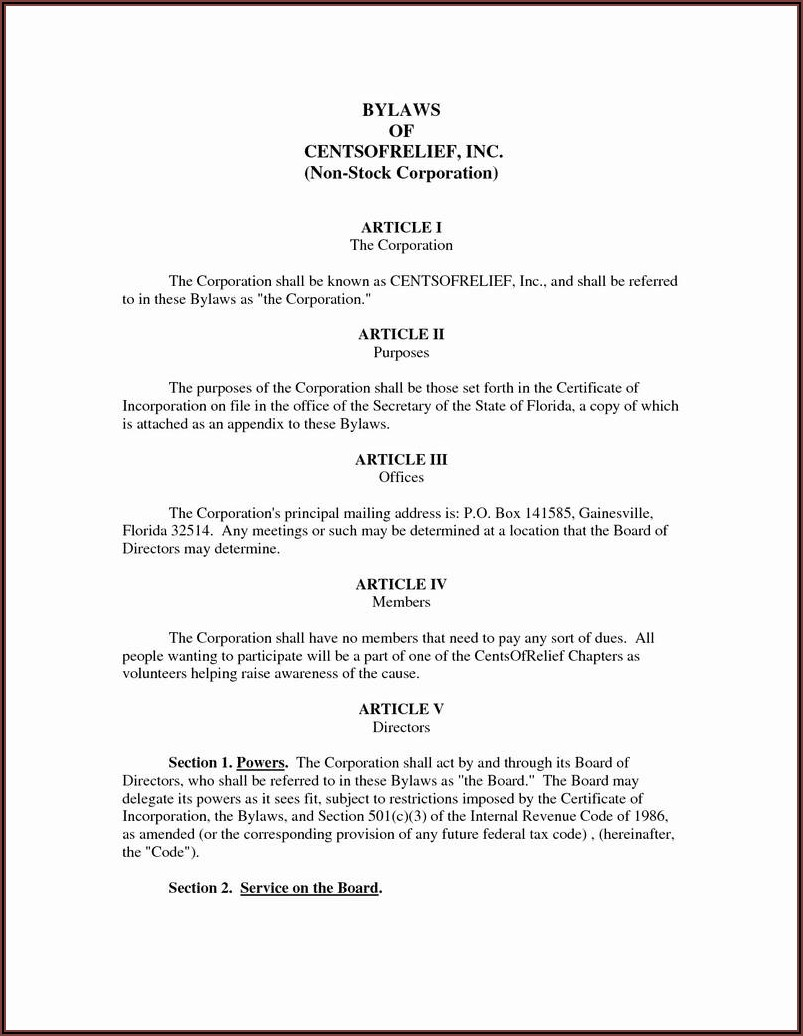 Llc Articles Of Incorporation Template