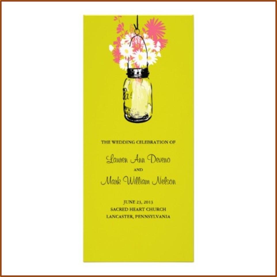 Mason Jar Wedding Program Template Free