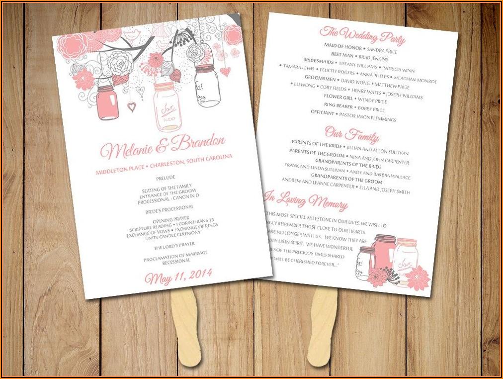 Mason Jar Wedding Program Template