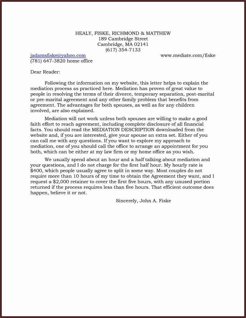 Massachusetts Separation Agreement Template
