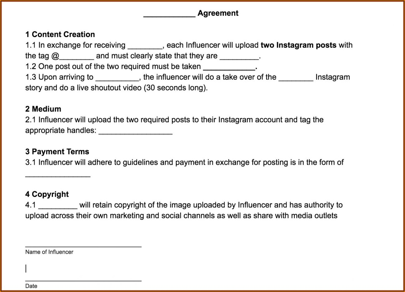 Media Partner Agreement Template