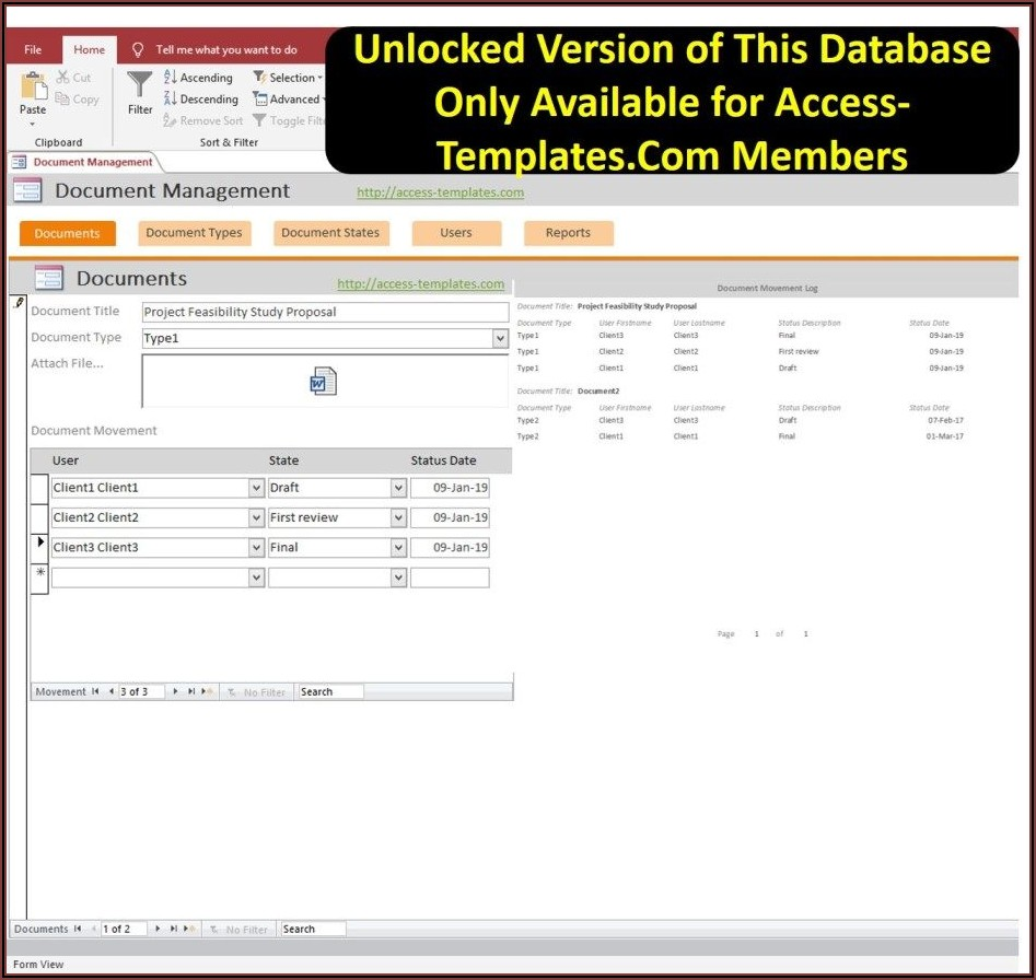Microsoft Office 2016 Access Database Templates