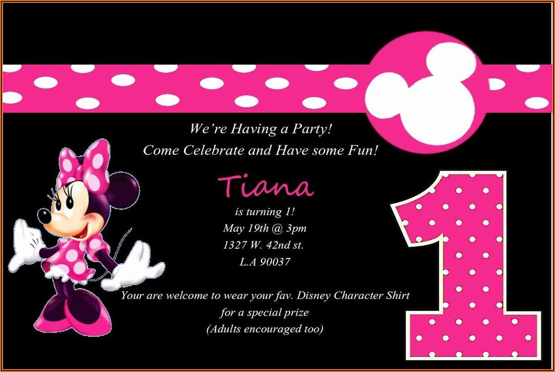 Minnie 1st Birthday Invitation Template