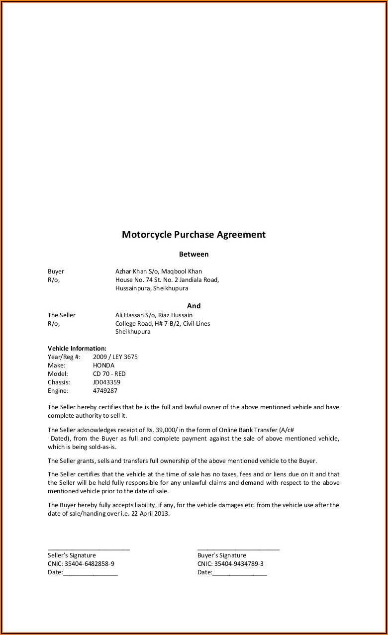 Motorcycle Sales Agreement Template