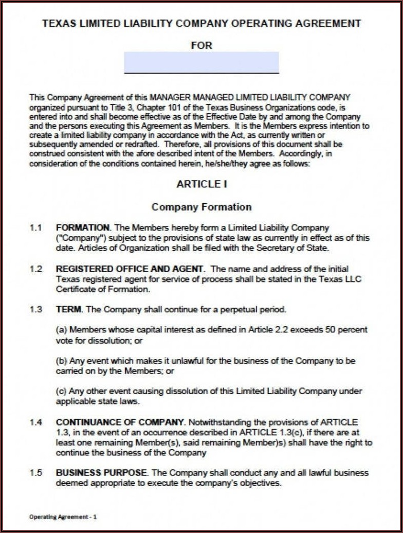 Oregon Llc Operating Agreement Template
