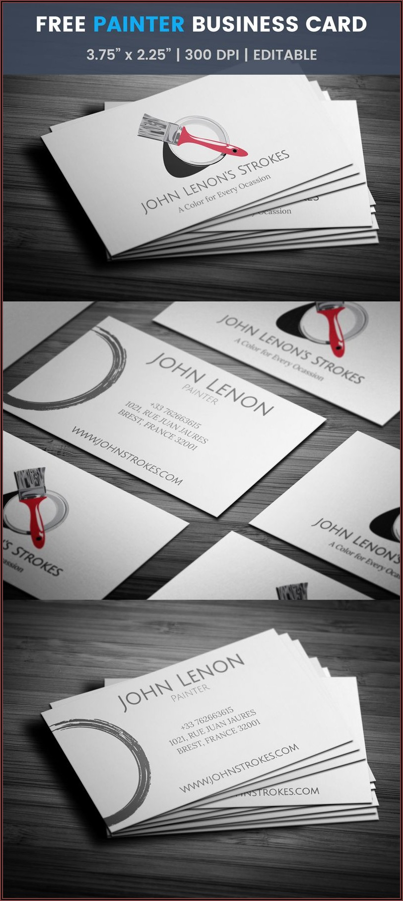 Painter Business Card Template Free